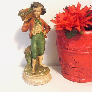 "Borghese  8"" peasant boy fruit basket chalkware"
